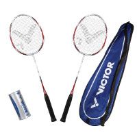 VICTOR Badminton Set, 2x Atomos 500 / Racketbag / 3x Nylonball