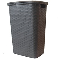 Wäschekorb-Wäschebox-Wäschetruhe-Wäschekiste-Wäschesammler-Wäschetonne-mit-Deckel-Kunststoff-in-Flechtoptik-Braun