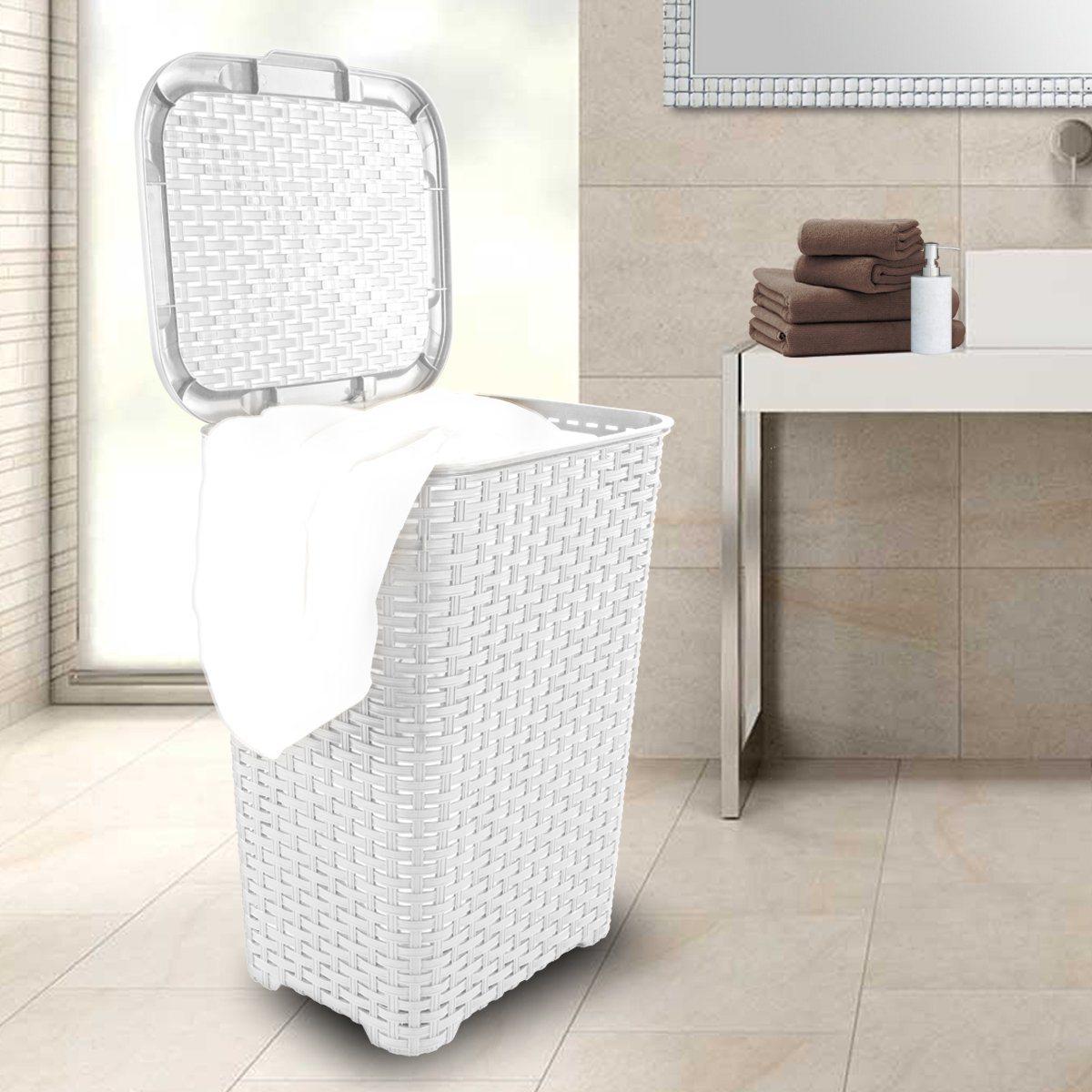 Wäschekorb In Rattan Optik 60 Liter Atmungsaktiv Mit Offen Gestalteter Struktur In 4 Verschiedenen Farben Weiß 1
