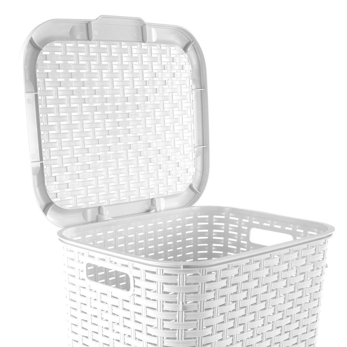 Wäschekorb In Rattan Optik 60 Liter Atmungsaktiv Mit Offen Gestalteter Struktur In 4 Verschiedenen Farben Weiß
