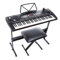Alesis Melody 61 Portables Tasten mit eingebauten Lautsprechern inkl. Mikrofon, Kopfhörer, Keyboardständer und Bank
