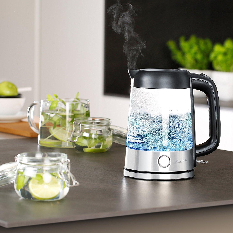 edelstahl glas wasserkocher mit led innenbeleuchtung von. Black Bedroom Furniture Sets. Home Design Ideas