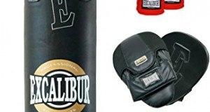 EXCALIBUR Boxset CLASSIC PRO mit Boxsack, 10 Unzen Boxhandschuhen, Trainerpratzen,Wickelbandagen und Springseil