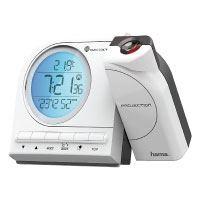 Hama-Funk-Projektionswecker-(mit-Thermometer,-Kalender,-Wecker,-automatische-Zeitanpassung,-Projektor-um-180-Grad-drehbar)-weiß