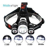 LED Scheinwerfer von AIQI, wiederaufladbare 3 CREE XM-L T6 Scheinwerfer, 6000 Lumen Wasserdichte Kopf Taschenlampe