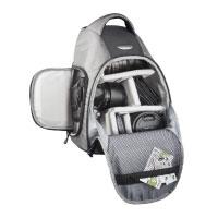 Mantona Miami DSLR-Kamerarucksack (Schnellzugriff für DSLR mit angesetztem Objektiv, Platz für mehrere Objektive oder Zubehör, Sling-Tragesystem)