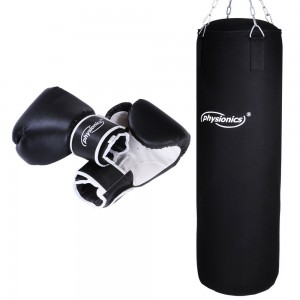 Physionics Boxset Boxsack 30x80 cm mit Stahlkette in Schwarz im Set inkl. Boxhandschuhe in der Größe Ihrer Wahl (10 oz, 12 oz, 14 oz oder 16 oz)