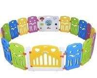 Seelux Kinder Laufstall Laufgitter aus Kunststoff mit Tür und Spielzeugboard (16+2)