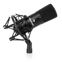 auna CM001B Mikrofon Studiomikrofon Kondensatormikrofon (Nierencharakteristik, Frequenzbereich: 20 Hz - 20 kHz, inkl Mikrofonspinne, Windschutz und Schutztasche) schwarz