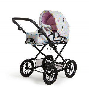 BRIO 24891359 - Puppenwagen Combi, grau mit Punkten, Puppenwagen Weiss