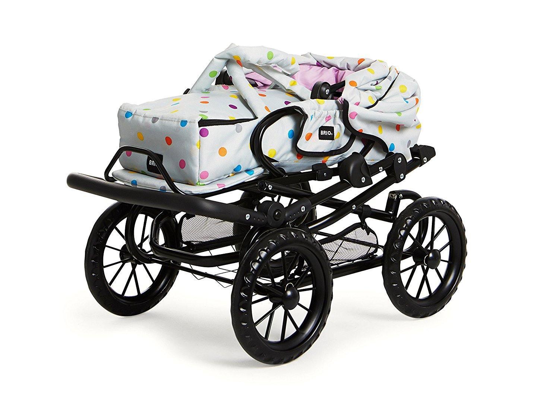 BRIO 24891359 - Puppenwagen Combi, grau mit Punkten, Puppenwagen Zusammengeklappt
