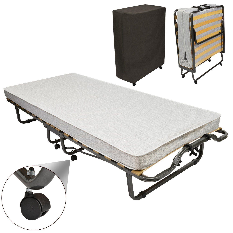 Beautissu® Gästebett Klappbar Venetia 90x200 Cm Stabiler Metall Rahmen Klapp Bett Inkl. Matratze Und Schutzhülle
