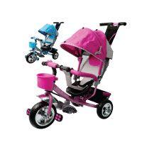 Dreirad aus Metall mit abnehmbarer Schubstange Sonnendach Kinderdreirad Schiebestange Raceline Blau