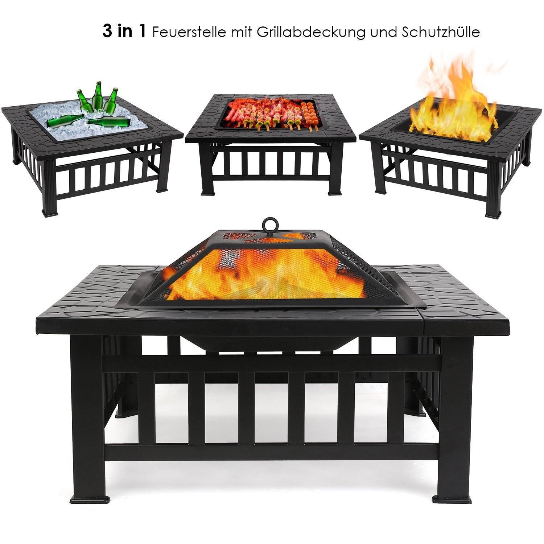 FEMOR 3 in 1 Feuerstelle mit Grillrost 81x81x45cm BBQ