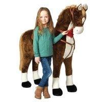 Giant-XXL-Plüschpferd-Max,-125cm-hohes-Kinderpferd-zum-Reiten,-fast-lebensgroßes-Spielzeug-Pferd-zum-drauf-sitzen,-380L-Volumen,-bis-100kg-belastbar,-mit-verschiedenen-Sounds,-inkl.-kleiner-Bürste