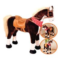 Großes-XXL-Standpferd-Liana-mit-Sattel-Braun-Pferd-Stehpferd-Reitpferd-Reiten