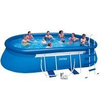 Intex Aufstellpool Oval Frame Pool Set, TÜV/GS, Blau, 549 x 305 x 107 cm