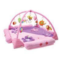 Kenmont-Baby-Spielmatte-Blumen-Spielbogen-Erlebnisdecke-Krabbeldecke-mit-Spielzeug-und-Musik-Babybett-(Purple)