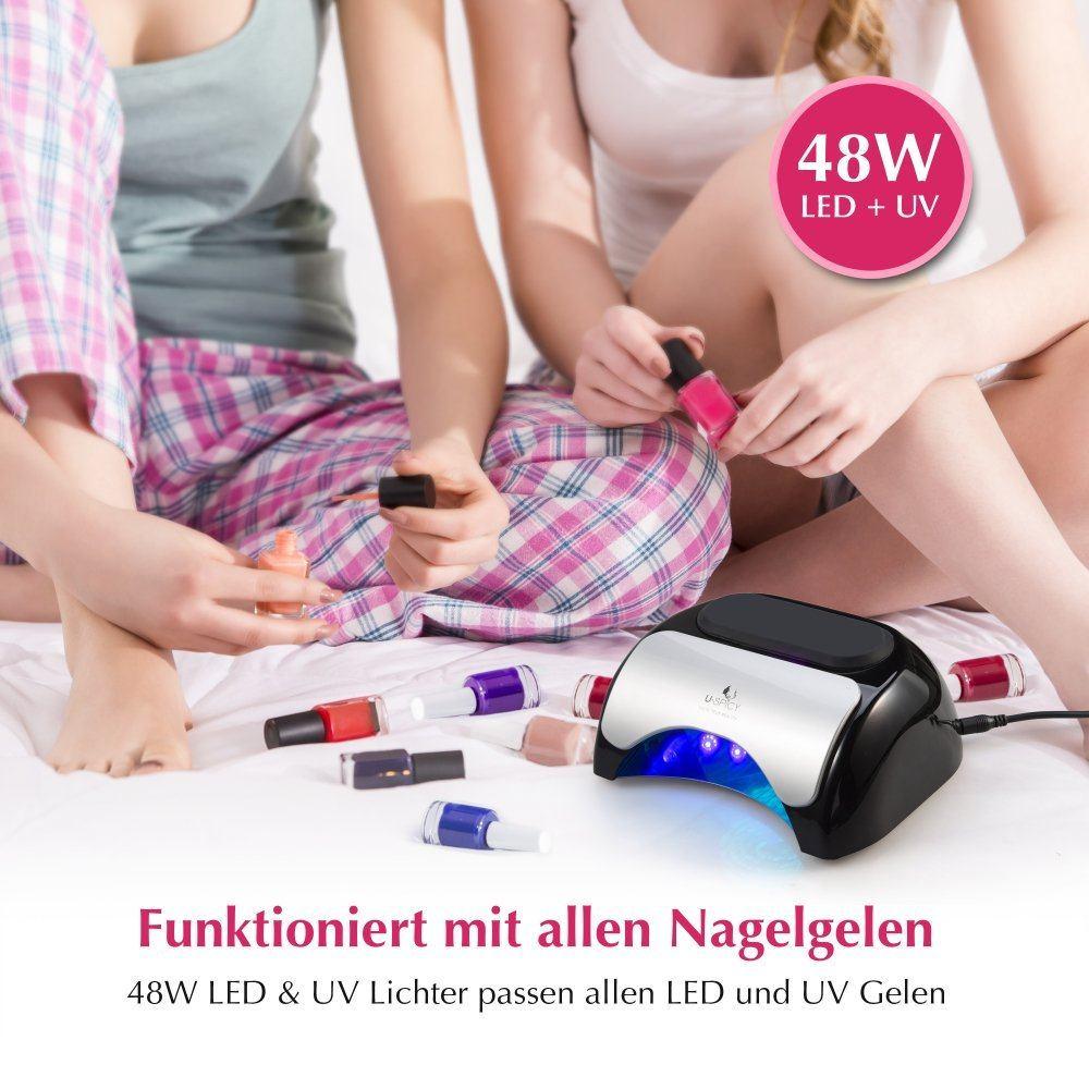 Nageltrockner USpicy 48W UV LED-Nagellampe Lichthärtungsgerät 10s Schnelltrocken Lüfter Ventilator für Nägel Nailart Drei Timer mit Sensor LED