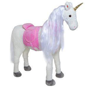 Plüschpferd XXL 105cm Einhorn - Lissy, fast lebensgroßes Spielpferd zum reiten, Stehpferd XXL, Kinderpferd bis 100kg belastbar - Spielzeug Einhorn inkl. kleiner Bürste - ein Kindertraum!