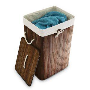 Relaxdays Wäschekorb Bambus faltbare Wäschetruhe rechteckig mit einem Fassungsvolumen von 83 L mit Wäschesack aus Baumwolle