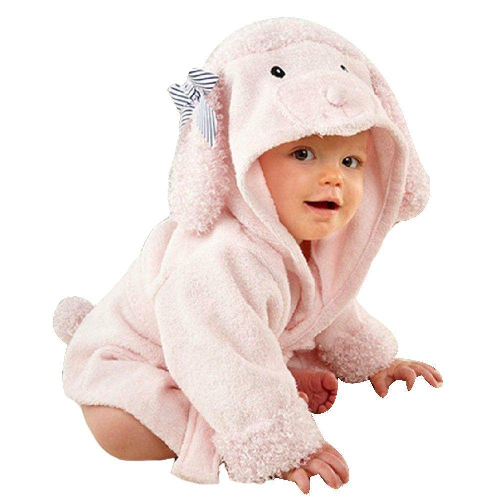 URAQT Baby Bademantel Mit KapuzeBaumwoll S%C3%A4uglings KapuzenbademantelVerschiedene Tier Designs Schaf