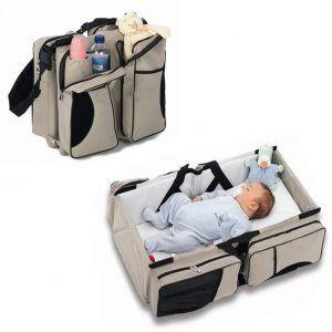 Zanza 3 in 1-Wickeltasche, Mehrzweck-Tasche, für Reisen, für Stubenwagen, für Babys und Kleinkinder, für Windeln, als Tragebettchen und Wickeltisch, tragbar, veränderbar
