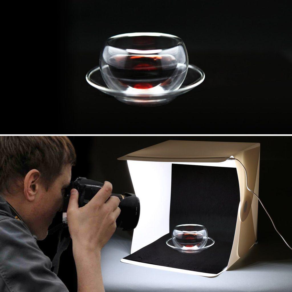 Amzdeal Lichtzelt Mit Beleuchtung Fotostudio Set Mit LED Leuchte 40x40x40cm Inkl. 2 HintergrundWei%C3%9F Schwarz.