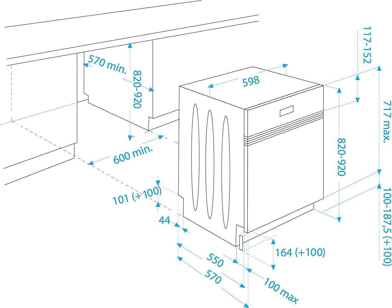 Beko DSN 6634 FX Teilintegrierbarer Geschirrspüler Dimensionen