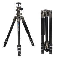 Bonfoto B671A Tragbare SLR Kamera-Stativ, Stativ Reise, Dreibeinstativ mit 3D-Kugelkopf Schnellwechselplatte und Einbeinsativ-Funktion für Canon Nikon Sony etc.