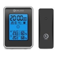 Digoo DG-TH1981 Wetterstation Multifunktions-Thermometer Digitale Hygrothermograph in-outdoor temperatur mit Wettevorhersage großes LCD-Display mit blaue Hintergrundbeleuchtung