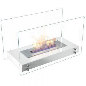 Ethanolkamin Roma Tischkamin & Standkamin mit sicherem Brennsystem, TÜV geprüft, Farbe Weiß