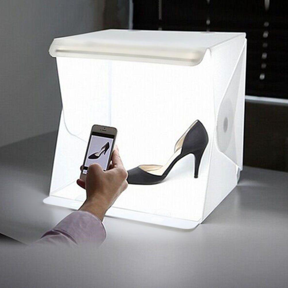 Fotostudio Set Mit LED Leuchte IFergo 94 X 87 X 94 Zoll Mini Fotozelt Mit 2 Hintergr%C3%BCnden Wei%C3%9FSchwarz