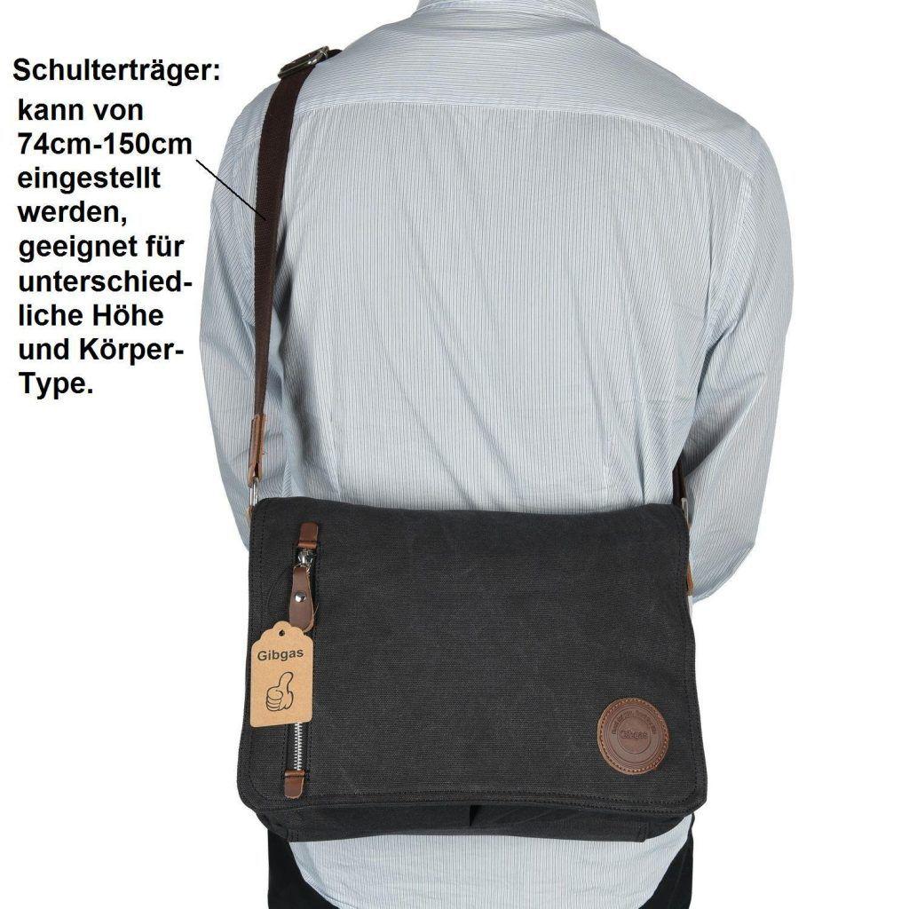 Gibgas Unisex Vintage Canvas Umh%C3%A4ngetasche Herren Schultertasche Messenger Bag F%C3%BCr 14 Zoll Laptop A4 Ordner Arbeit Uni Reise Sport Schwarz.