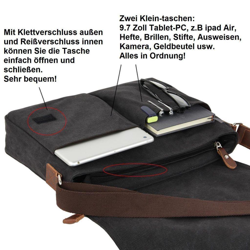 Gibgas Unisex Vintage Canvas Umh%C3%A4ngetasche Herren Schultertasche Messenger Bag F%C3%BCr 14 Zoll Laptop A4 Ordner Arbeit Uni Reise Sport Schwarz..