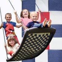 Große Mehrkindschaukel STANDARD weiß/rot/blau für 4 Kinder