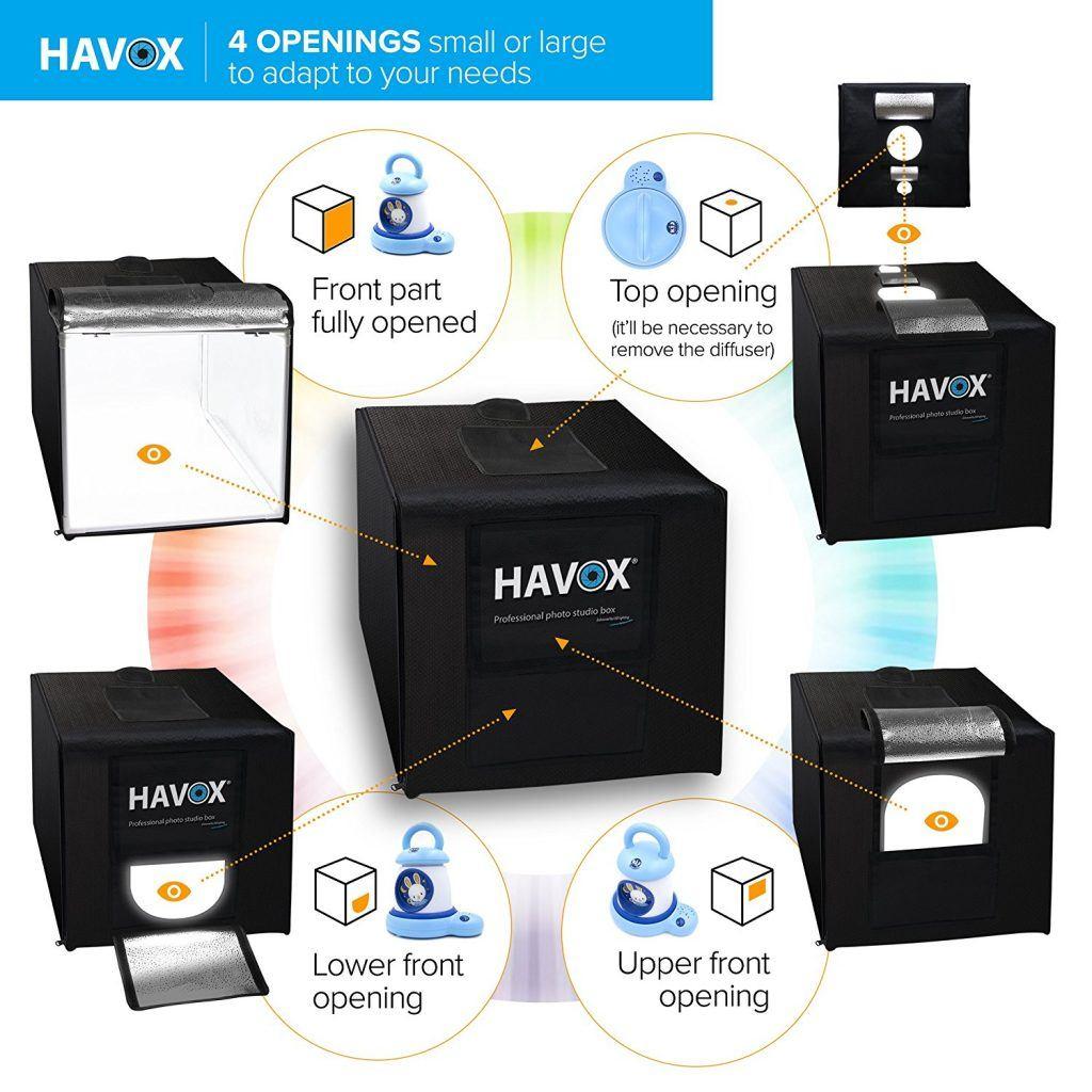 HAVOX Fotostudio HPB 60 Ma%C3%9Fe 60x60x60cm LED Beleuchtung .