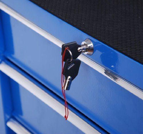 Homcom%C2%AE Fahrbarer Werkstattwagen Werkzeugwagen Rollwagen Werkzeugkasten Mit 5 Schubladen Blau.