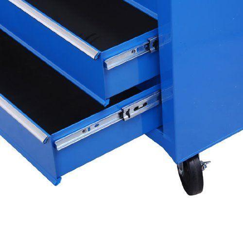 Homcom%C2%AE Fahrbarer Werkstattwagen Werkzeugwagen Rollwagen Werkzeugkasten Mit 5 Schubladen Blau