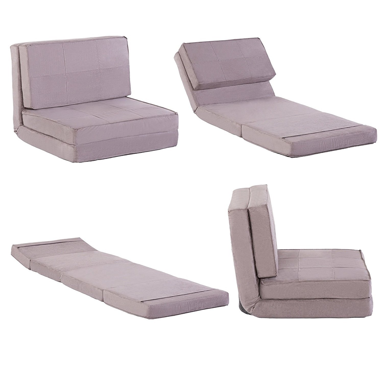 Klappbarer Schlafsessel Jugendsessel Gästebett Kindersessel Bettsessel Polyester grau