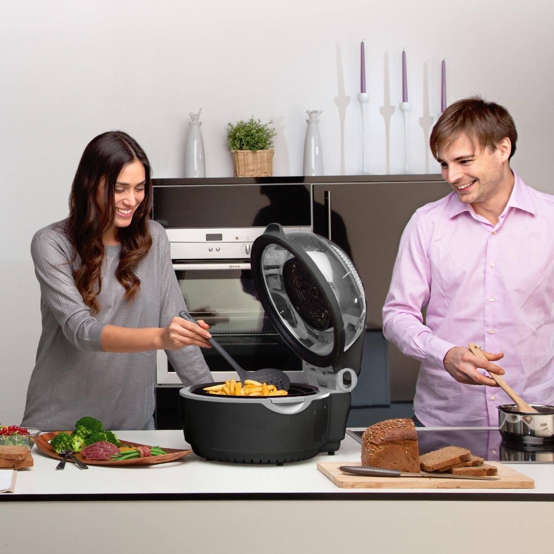 Klarstein VitAir Heißluftfritteuse Fritteuse (1400 Watt, 9 Liter Garraum, fett-frei Frittieren, Backen, Grillen, Rösten) schwarz