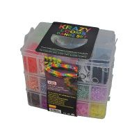 Krazy-Looms-9000-Gummibänder-Set,-das-Kit-enthält-1-Webstuhl,-1-Mini-Haken