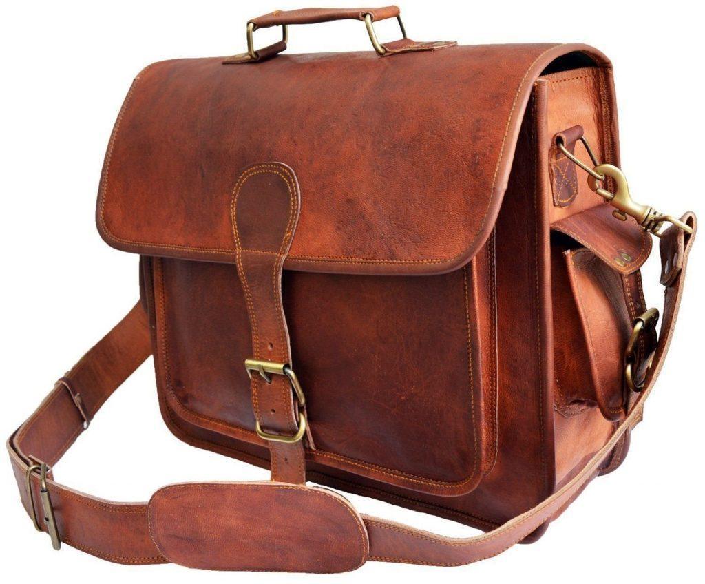 Krish Vintage Leder Laptop Tasche Messenger Handgefertigt Aktentasche Umh%C3%A4ngetasche Schultertasche