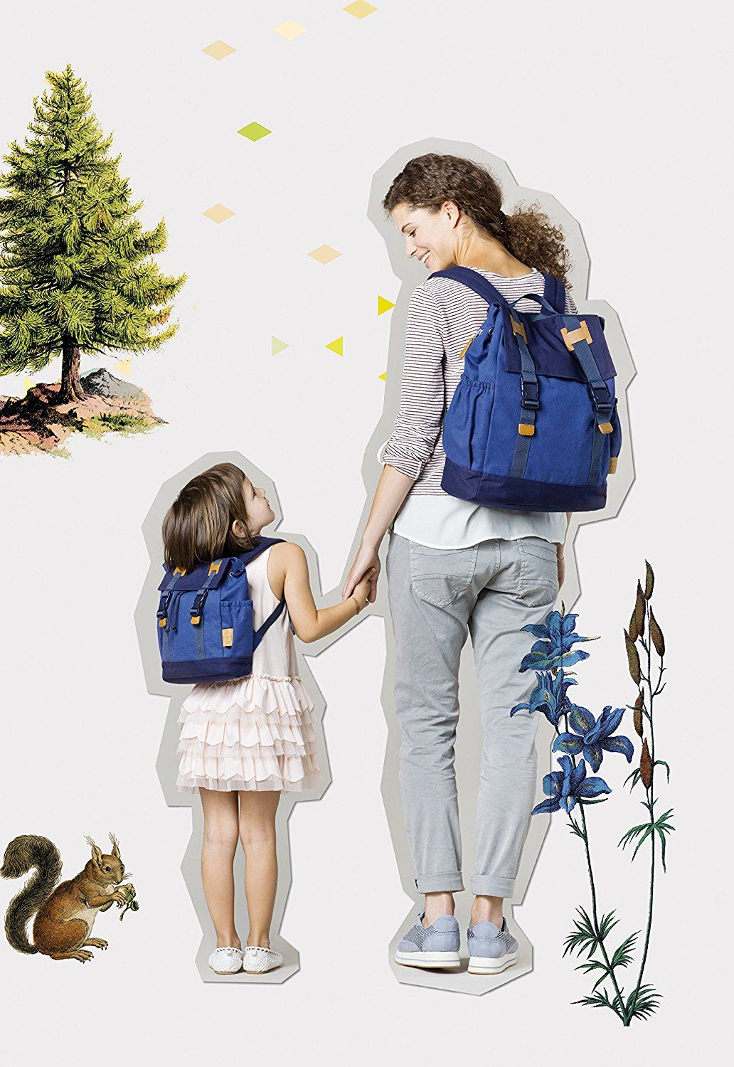 Lässig Vintage Little One und Me Backpack, klein Kinderrucksack Kindergartentasche, blue
