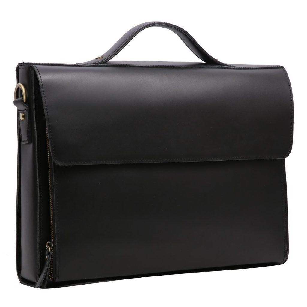 Leathario Herren Ledertasche Vintage Handtasche Umh%C3%A4ngetasche Aktentasche Laptoptasche Unitasche B%C3%BCrotasche Collegetasche Lehrertasche Arbeitstasche Businesstasche Messenger Bag Schwarz