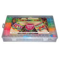 Loom Bands XXL Kit, 3059 teilig, 3000 Loom Bänder bunt, Neon, Glitzer, mit Häkelnadel, Finger Mini Webrahmen und großer Webstuhl