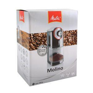Melitta Kaffeemühle Molino, elektrisch, Scheibenmahlwerk, schwarz 101901 Paket