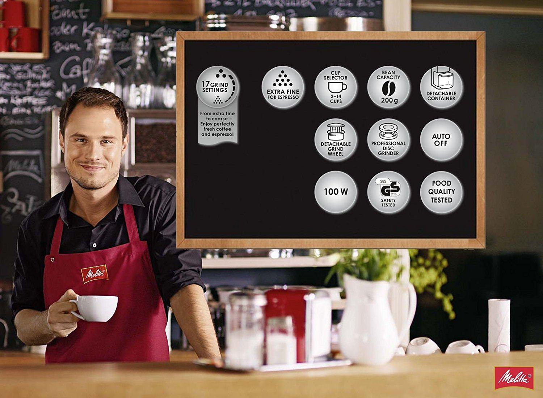 Melitta Kaffeemühle Molino, elektrisch, Scheibenmahlwerk