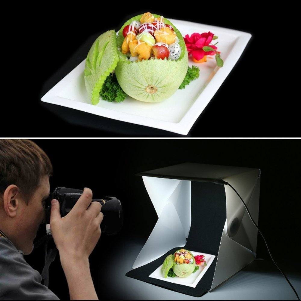 Mini Fotostudio Set Mit LED Leuchte Lichtw%C3%BCrfel Lichtzelt Fotozelt Fotobox Licht Zelt Kit Mit Wei%C3%9F And Schwarz 40 X 40 X 40 Cm