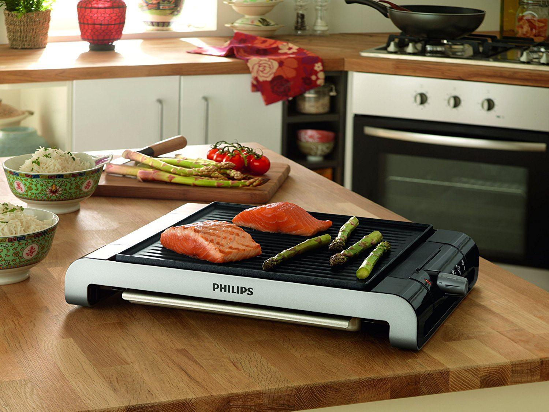 Philips HD441720 Tischgrill aus Edelstahl, 2000 Watt, gerippte Platte, 5 Stufen